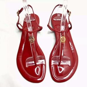 Tory Burch Emmy Red Patent Leather Thong Sandals